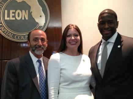 Director Shay Bilchik, Secretary Christina K. Daly, and Tallahassee Mayor Andrew Gillum